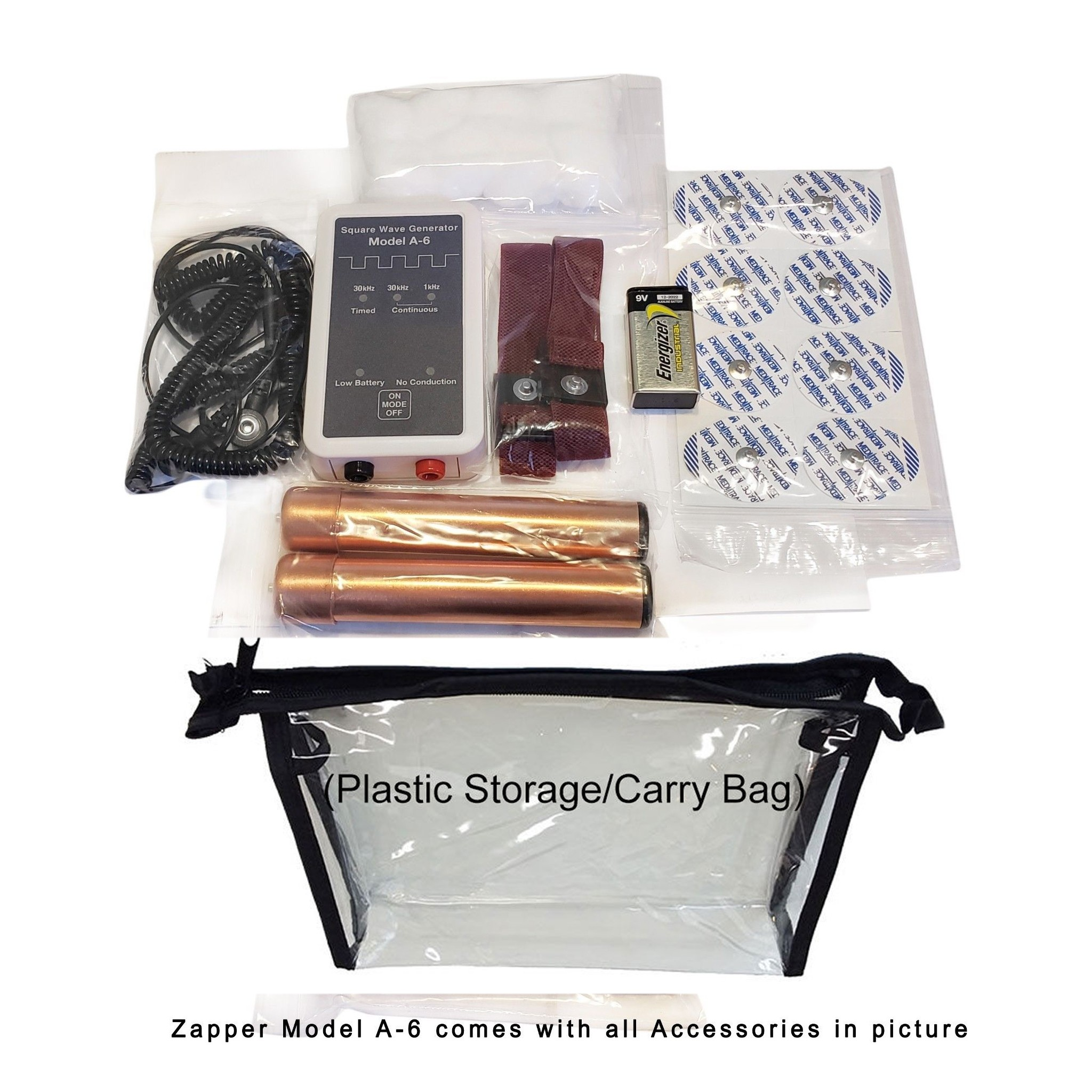 Zapper Model A6 - With Copper Handholds, Carrying Case & Wriststraps